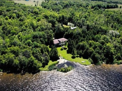 Aerial view of the cottage grounds