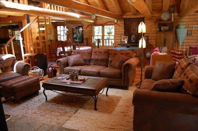 Great room in  Papa Bear's Lodge.
