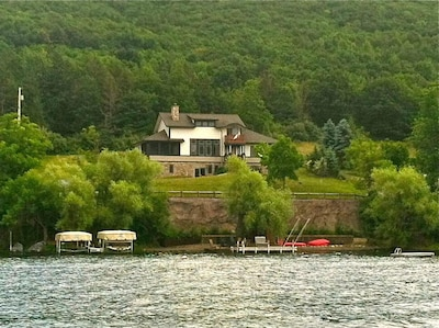 Evergreen, view from the lake, with 150 feet of lakefront to 'play' on.