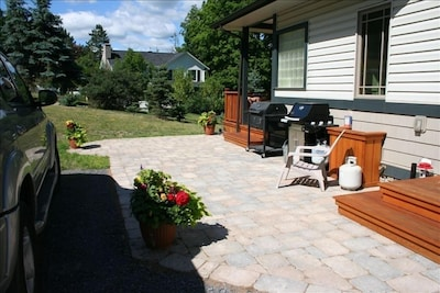 Rear Porch and Patio for grilling - gas and charcoal grills