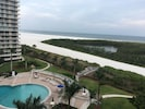 View from balcony overlooking the pool and the Gulf of Mexico