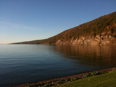 Cliffs from beach at dusk