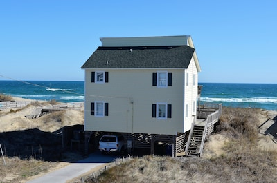 Rear of cottage looking at ocean and beach