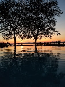 VIEW OF SUNSET FROM SWIMMING POOL