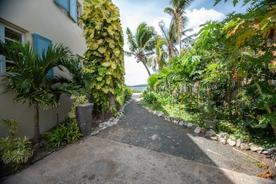 Side walkway from the driveway leading to the back yard and beach