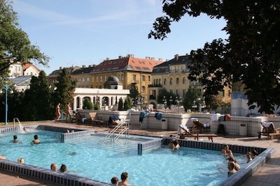 Our buidling from the Gellert thermal baths (one on right, with apartment on top