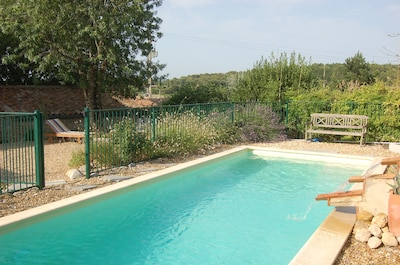 Salt-water pool with fountain and shower 9m x 3m