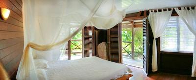 Chambre  créole n°3 climatisée, lit 160x200, 20 m2, salle de bain attenante