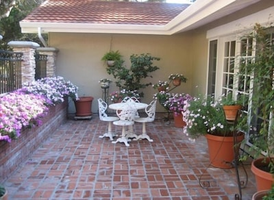 View of the Courtyard at the Front of Our Carmel Vacation Home Rental