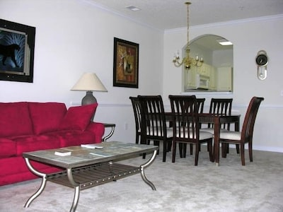 Solid Wood Cherry Dining Area With Open Kitchen Window Service