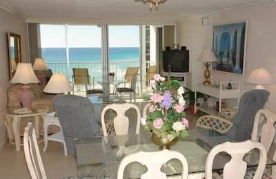 """TOWER 1, 8TH FLOOR, LIVING/DINING ROOM VIEW WHILE EATING AND 37"""" FLAT SCREEN TV,"""