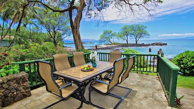 Oceanfront Dining Area With Nearby Gas Grill