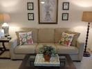 New accent pillows, added 4/21. Handmade from vintage Hawaiian bark cloth.
