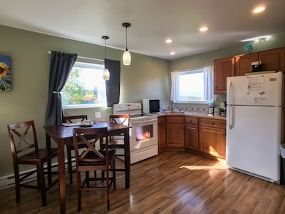 A fully equipped kitchen with all new appliances.