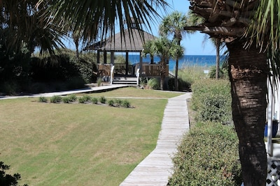 View from Living Room deck, boardwalk that leads to beach!