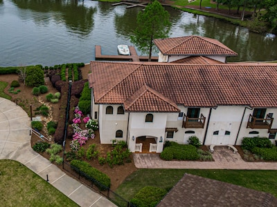 Aerial view of the villa and lake