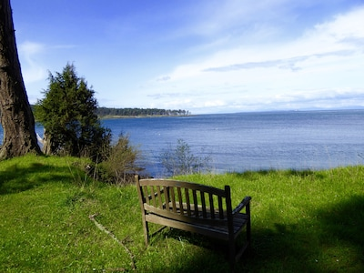the bench in front of the cottage for you to relax and enjoy the view
