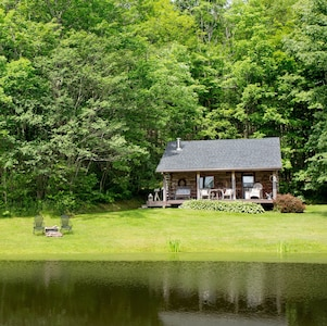 Front view of cabin overlooking Bass pond.