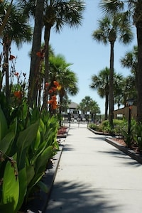 Gorgeous landscaping in the Ocean Villas Condo Complex