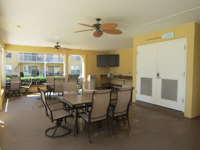 Covered pavilion and gas grill at Resort for parties based on availabaility