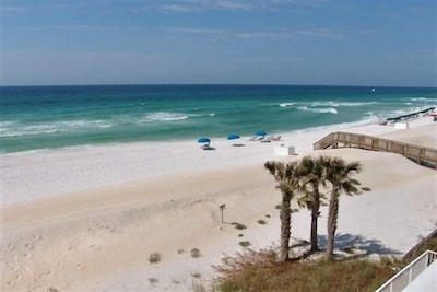 A spectacular, unobstructed ocean view from your 3rd floor, 25 foot balcony!