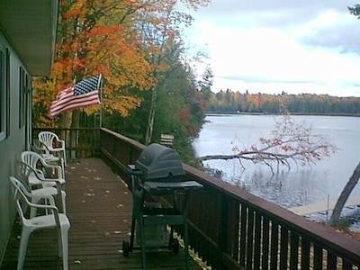 walk out onto the deck from the kitchen.