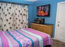 Master bedroom with 50 inch LCD TV and CD player