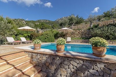 Pool area, very private and not overlooked ...well only by the donkey!