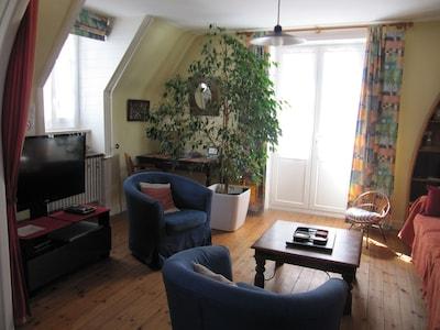 Salon, télévision, porte-fenêtre, accès au balcon