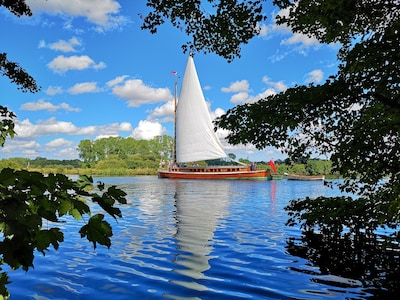 Picture I took of a wherry sailing past riverside Lodge