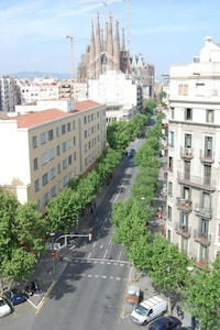 The view looking down onto the street