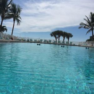 Enjoy the warm heated pool overlooking the gulf