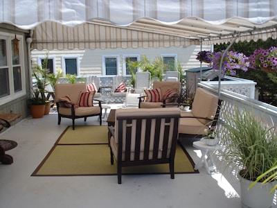 .Huge covered deck.