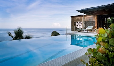 The 48ft ozone infinity pool and sun terrace at Cosmos St Lucia