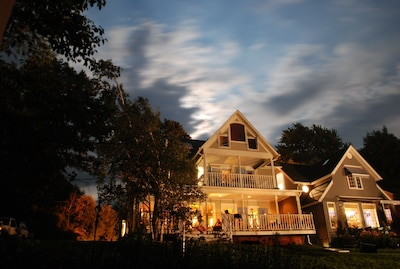 The cottage at sunset all lit up