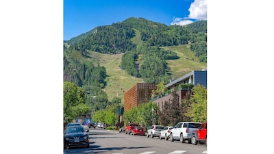 View from condo complex parking lot of Aspen Mountain and the Aspen Art Museum