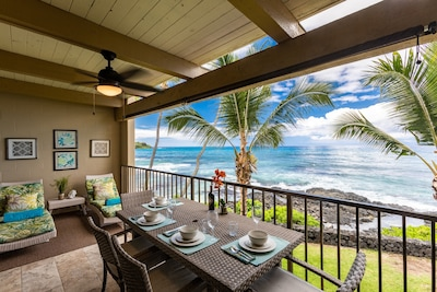 Lanai Lounging and Dining.  Watch the surfers right from your lanai!