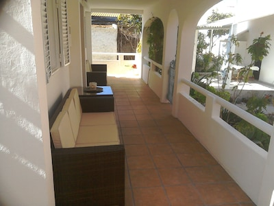 Nice and cool under the balcony