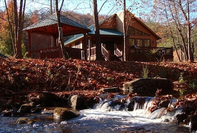 Cabin is just feet from the Rushing Trout Creek