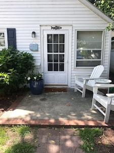 Front porch for this cute Rehoboth cottage.
