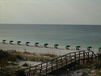 Early morning view of Mainsail private beach from our balcony