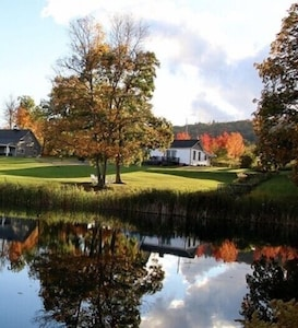 Looking at house from the stocked pond