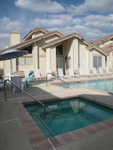 Beautifully maintained swimming pool and hot tub-previous pic new loungers