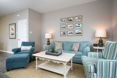 Living area with comfortable pull out sleeper sofa.
