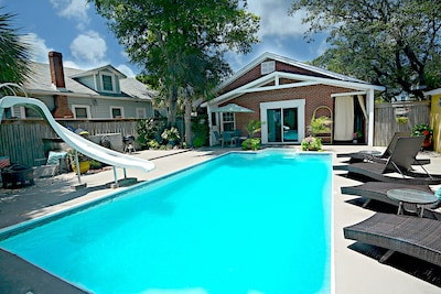 Pool and view of the Bungalow.