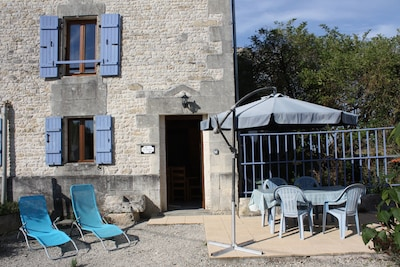 The front entrance to the gite and patio area