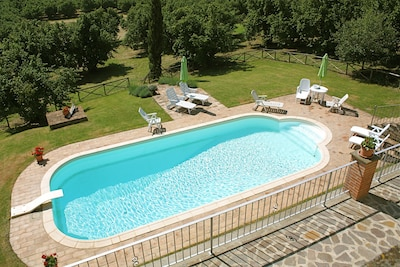 From balcony down to pool and gardens.