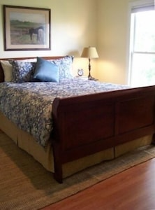 One of the Two Nicely Appointed Bedrooms with Down Bedding and Queen Bed