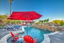 Baja-Step w/ an umbrella sleeve gives the option of being poolside but shaded.