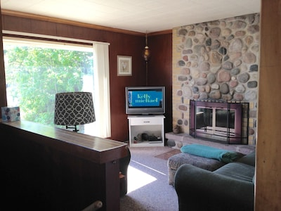 Living Room with great stone fireplace